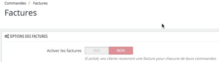 Prestashop - Desactiver la facturation